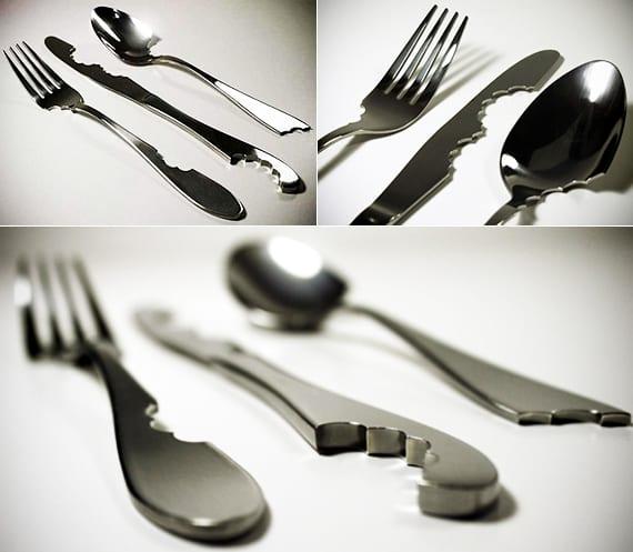 kreative idee zum tisch decken mit originellem besteck