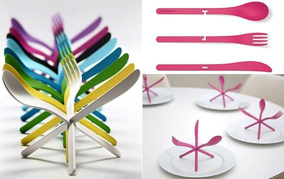 kreastive idee für Besteck anordnung und tisch decken mit buntem besteck