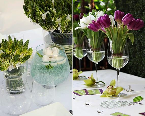 tischdeko frühling mit tulpen im glas als coole blumendeko hochzeit idee