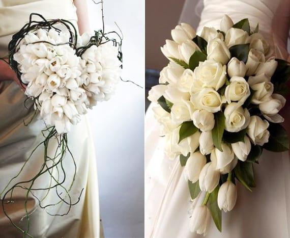 blumenschmuck und blumendeko hochzeit mit weißen tulpen