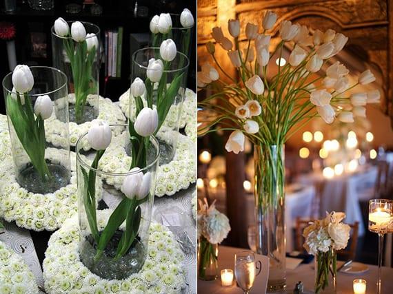 tischdeko ideen mit tulpen für eine raffinierte blumendeko hochzeit in weiß