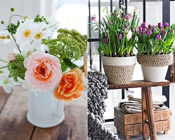 inspiration für frische frühlingsdeko mit lilafarbigen tülpen und originellen weißen blumentöpfen mit