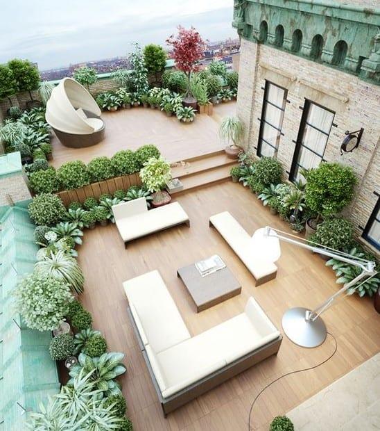 roof top gartengestaltung ideen mit pflanzen und designer möbeln