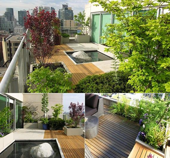 roof top terrasse gestalten im japanischen stil mit teich und rechteckigen blumenkübel aus beton für intensive dachbegrünung