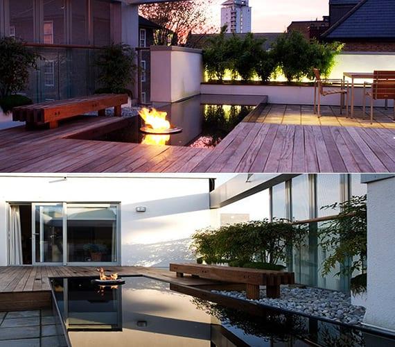 roof top terrasse gestalten mit wasser und kies_moderne dachterrasse beispiele