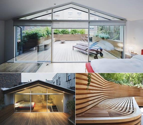 roof terrasse gestalten mit holzbank und blumenkübel in einem_dachterrasse sichtschutz mit pflanzen