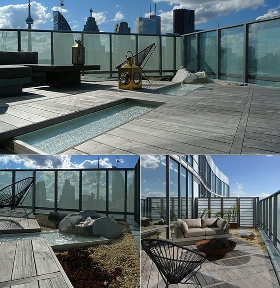 roof top ideen für steingarten mit wasser und sitzecke mit feierstelle auf dachterrasse im hochhaus