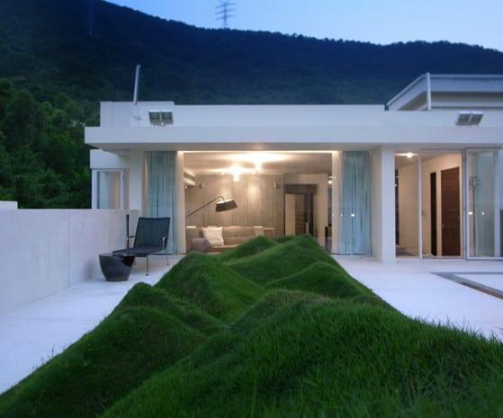 dachgarten gestalten mit rasen auf flachdach