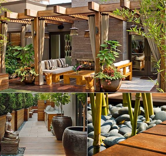 roof top designinspiration für japanischen garten mit pergola und dzen motiven