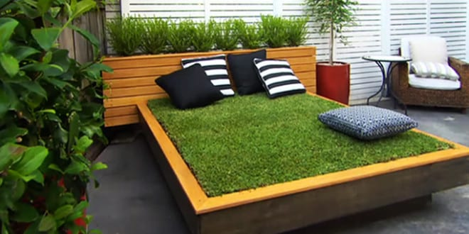 diy bett aus paletten und gras im garten anlegen coole. Black Bedroom Furniture Sets. Home Design Ideas