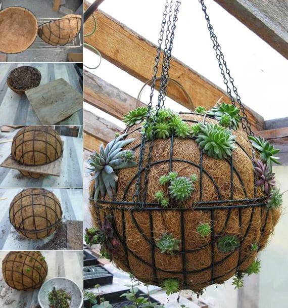 gartenideen für gartendeko mit bepflanzten gartenkugeln