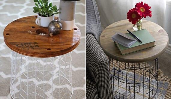 beistelltisch rund selber machen aus drahtkorb freshouse. Black Bedroom Furniture Sets. Home Design Ideas