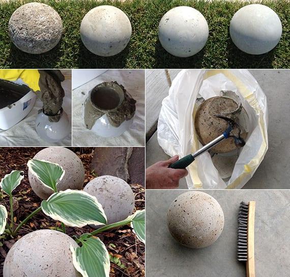 gartenkugeln basteln aus beton als beispiel für moderne gartendekoration