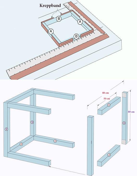 terrasse gestalten mit licht und coole laterne basteln aus kantholz und acrylglasplatten als diy beistelltisch mit einbauleuchten