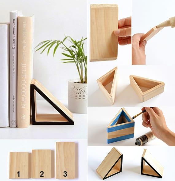 moderne dekoideen mit selbstgemachten Büchernstützen aus holz für weiße regale und sideboard