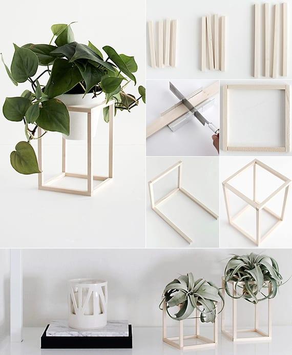 coole Tischdeko mit Pflanzen und originelles Geschenk selber basteln aus holz