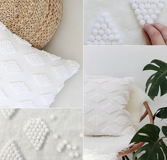 weißer kissenbezug mit weißen pompon selber basteln als coole dekoidee für wohnzimmer weiß
