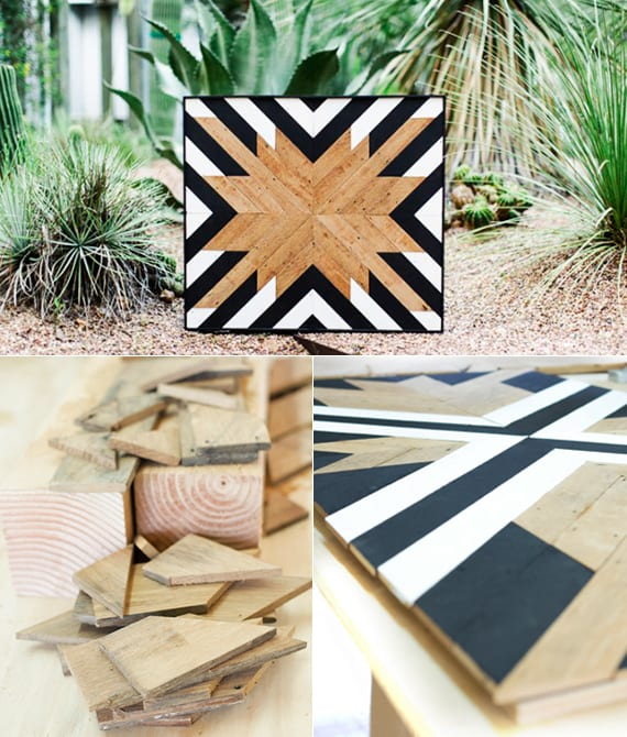 kreatve bastelideen für Wanddeko und diy geschenke aus holz_dekoideen in schwarzweiß