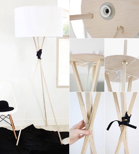 lampe selber bauen mit dreifußen aus holz als dekoidee für wohnzimmer weiß