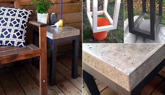 holz terrasse gestalten mit diy beistelltisch aus beton und holz freshouse. Black Bedroom Furniture Sets. Home Design Ideas