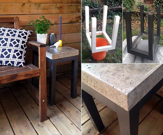 terrasse modern gestalten und einrichten mit selbstgebautem tisch aus holz und beton
