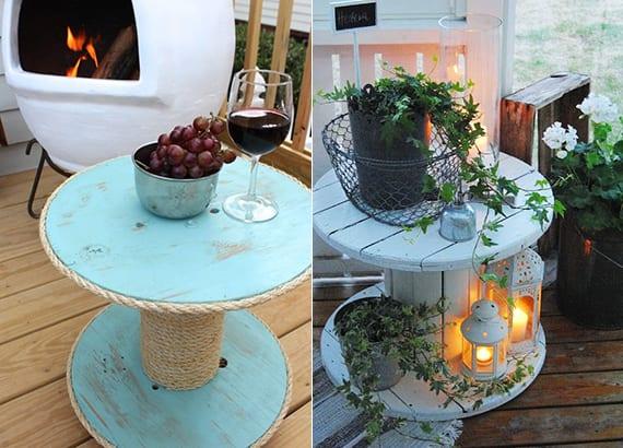 diy beistelltisch für die terrasse aus kabelrolle_holz terrasse dekoideen mit diy beistelltisch, kerzen und pflanzen
