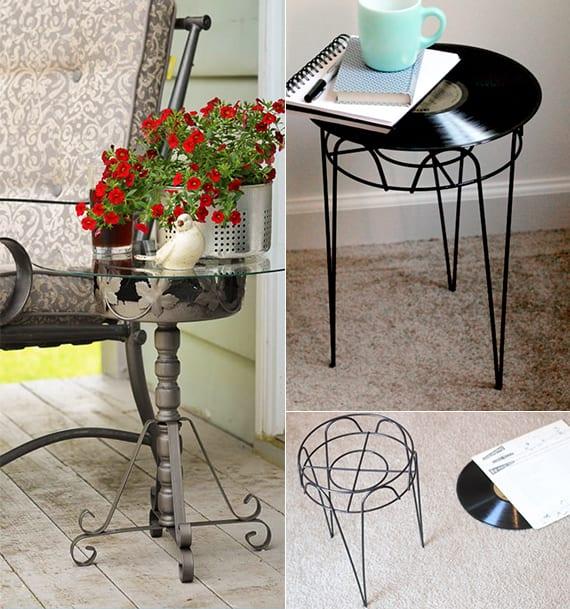 diy schallplatte-beistelltisch_coole deko ideen für terrassen