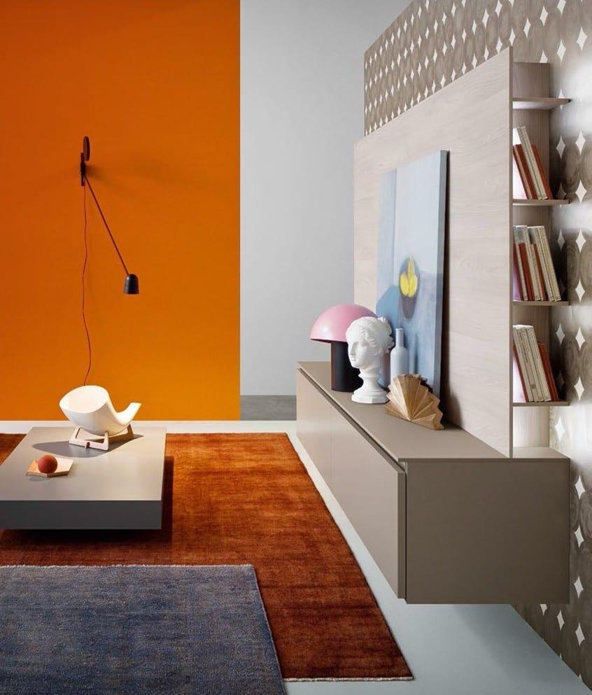 modernes tv-möbel design in grau mit tv wand als kreative wohnidee für wandgestaltung wohnzimmer_farbgestaltung wohnzimmer mit wandfarbe orange