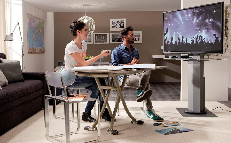kleine wohnzimmer einrichten mit dem passenden tv möbel_coole wohnidee für moderne mediamöbel im kleinen wohn-esszimmer