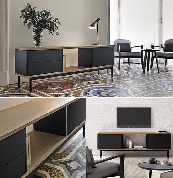 sideboard in schwarz und holz als tv-möbel für moderne wohnzimmer gestaltung