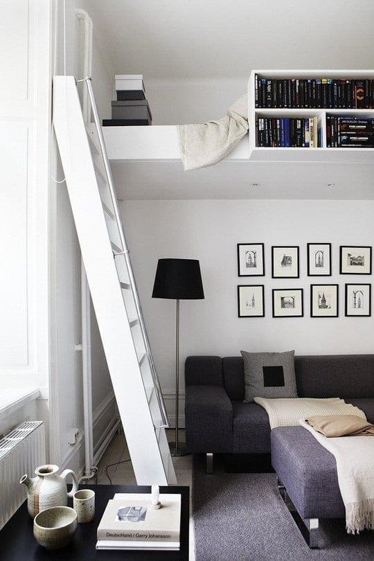 hochbett weiß mit bücherregal als alternative für kleine wohnzimmer einrichten