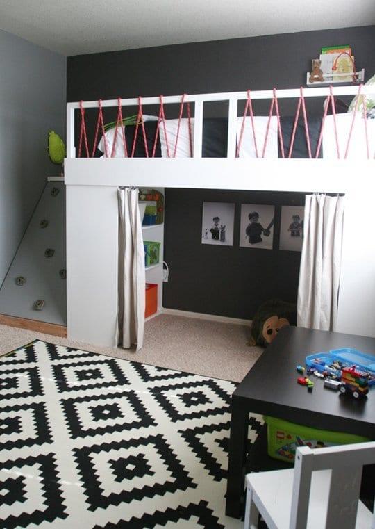 kinderzimmer einrichten mit hochbett weiß und kletterwand_erzeigen sie mehr spielefläche im kinderzimmer