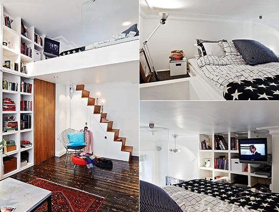 schlafzimmer gestalten in weiß und holz mit loft bed mit wandregalen und nachttisch in weiß über zimmertür