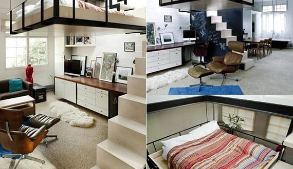Kleine wohnung einrichten mit hochhbett doppel loftbett for Wohnung design magazin