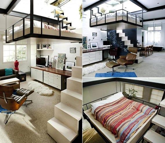 modernes 1 zimmer apartment mit loft bed und metalltreppe als trennwand zwischen küche und wohnzimmer