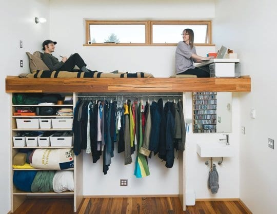 coole ideen und einrichtungsbeispiele für studentenzimmer mit hochbet holz mit garderobe