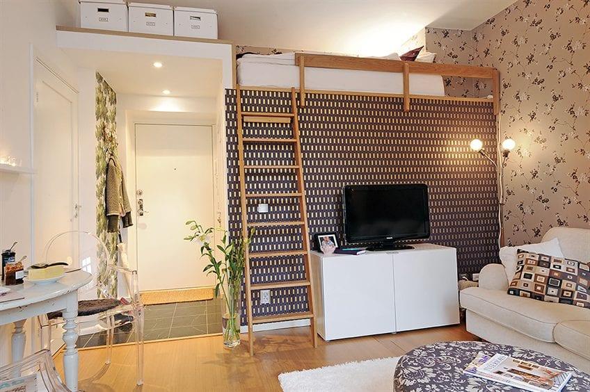 kleine wohn esszimmer einrichten mit hochbett und kreativ gestalten mit tapetten