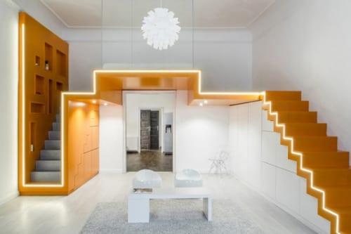 designinspiration für kleine wohnungen mit modernem wohnzimmer design und hochbett