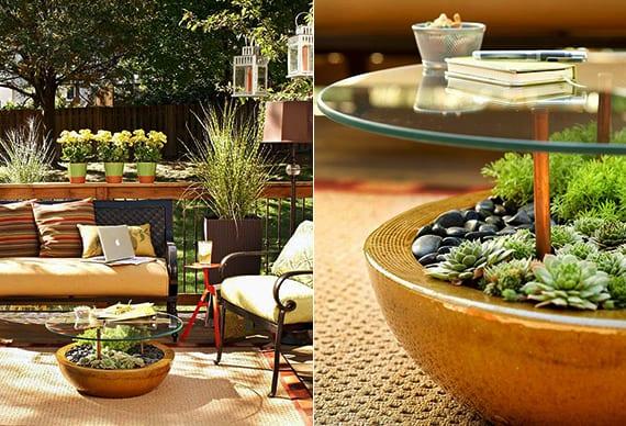 terrasse kreativ dekorieren mit fettpflanzen und schwarzen gartenmöbel aus metall