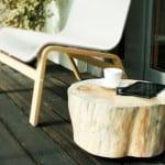 runder holztisch auf rollen selber bauen als inspiration für terrassengestaltung mit diy terrassenmöbeln
