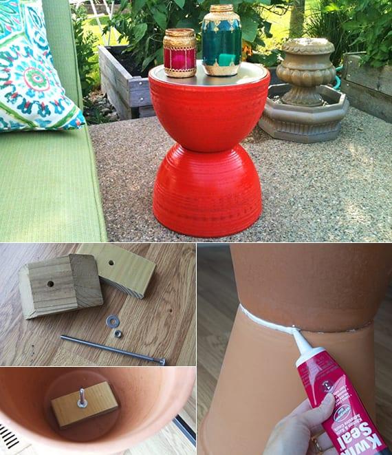 interessante terrassengestaltung mit selbstgemachtem tisch aus blumentöpfen in rot