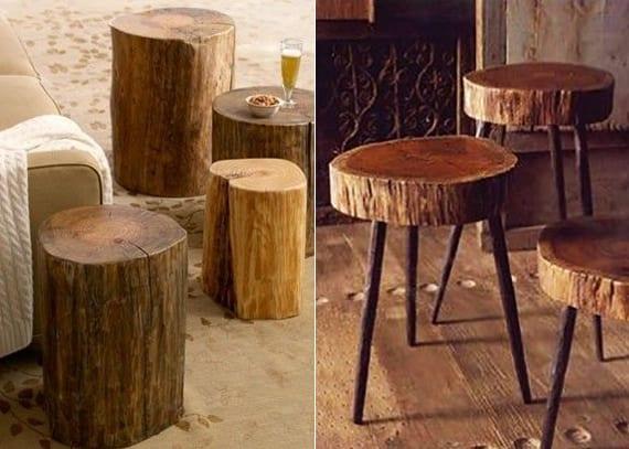 terrasse gestalten mit naturmaterialien_runde holztische aus holzscheiben oder Baumstümpfe