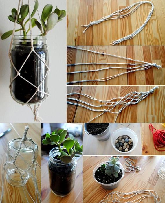 urban gardening ideas mit diy hänge-blumentöpfe