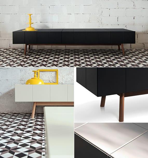 tv möbel design in schwarz und weiß für moderne wohnzimmereinrichtung