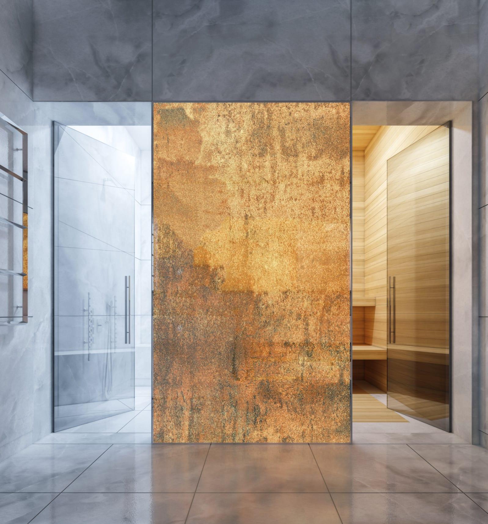 modernes bad mit großen bodenfliesen,transluzenter trennwand und großen glastüren zum duschbereich und sauna mit wandfliesen in holzoptik