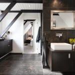 bad modern einrichten mit wandhängeschränken schwarz_bad ideen und trends 2016 für badgestaltung in weiß und schwarz