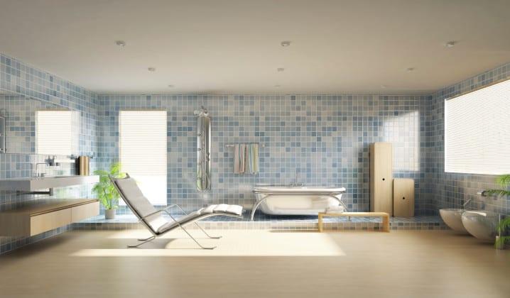 modernes badezimmer mit laminat und mosaik in blau_bad ideen für badeinrichtung mit waschtisch beton, wandhängeschrank holz und badbereich mit blauen fliesen