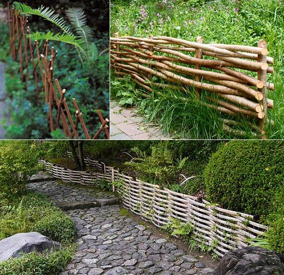 gartenzaun aus zweigen und bambus als coole gartengestaltung und rasenkante