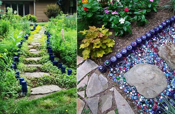 originelle gartengestaltung mit glasflaschen als DIY rasenkante in blau