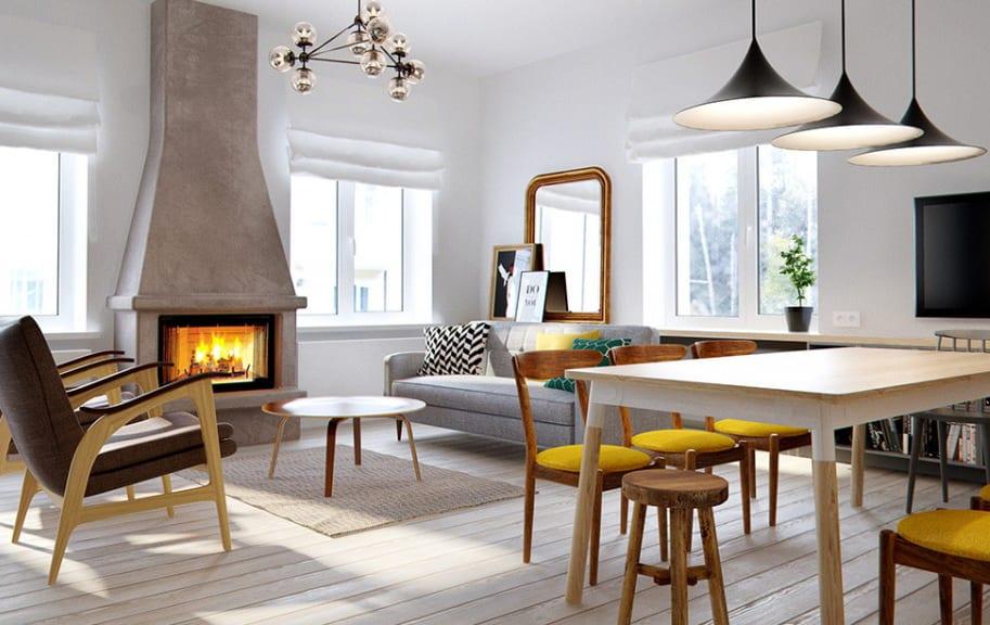 moderne wohnzimmer mit kamin und esstisch holz mit gelben holzstühlen und modernen pendellampen schwarz